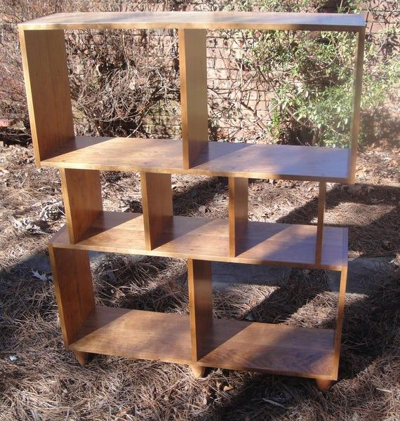 Mid Century Modern Bookcase Or Room Divider With Eighteen Inch Etsy Room Divider Bookcase Wood Screws