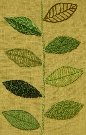 Embroidered leaves with different stitches. Good idea for beginners to practice.