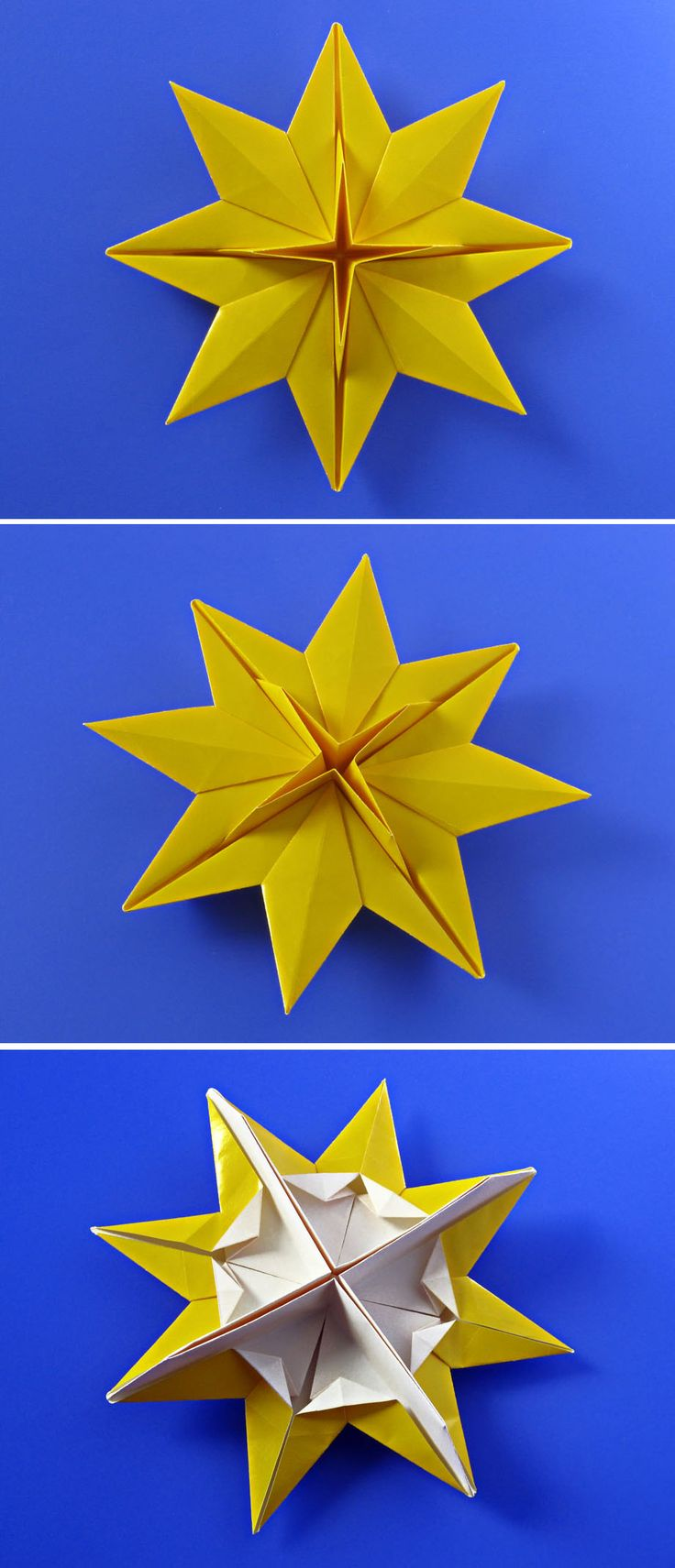 Christmas origami instructions hex star maria sinayskaya youtube - Origami Bistella From One Uncut Square Of Collage Paper 17 X 17 Cm