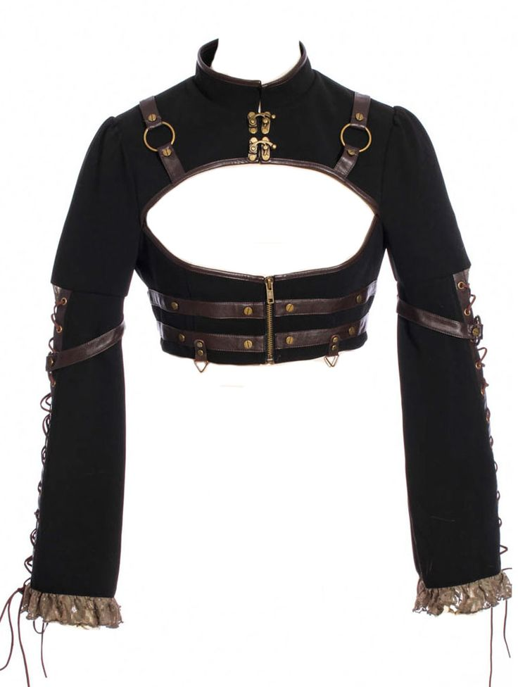 Steampunk black bolero vest with straps, lace end sleeves and lacing RQBL > STEAMPUNK STORY - RQBL0320   Shop : www.steampunk-story.com