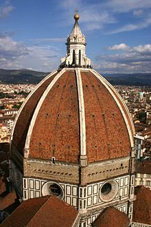 Dome for the Duomo of Florence, Santa Maria del Fiore. The dome, the lantern (built 1446–ca.1461) and the exedra (built 1439-1445) would occupy most of Brunelleschi's life.