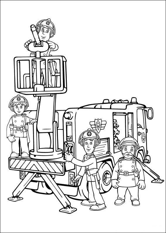 kleurplaat Brandweerman Sam Kids-n-Fun