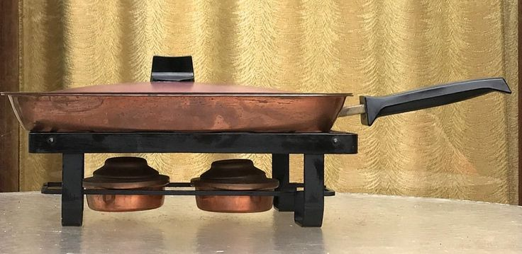MIDCENTURY CULINOX COPPER CHAFING DISH WITH TWO BURNERS SWITZERLAND SPRING Mfg #CulinoxSpring