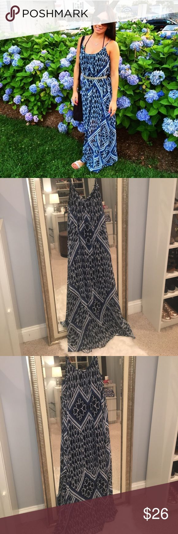 Beautiful Blue Tribal Maxi Dress 💎 This maxi dress is lined with a beautiful sheer pattern over the top. I wore it with a black belt to cinch the waist (not included) but it also looks great without one. Adjustable straps. Fits an XS / S Message me for details! Express Dresses Maxi