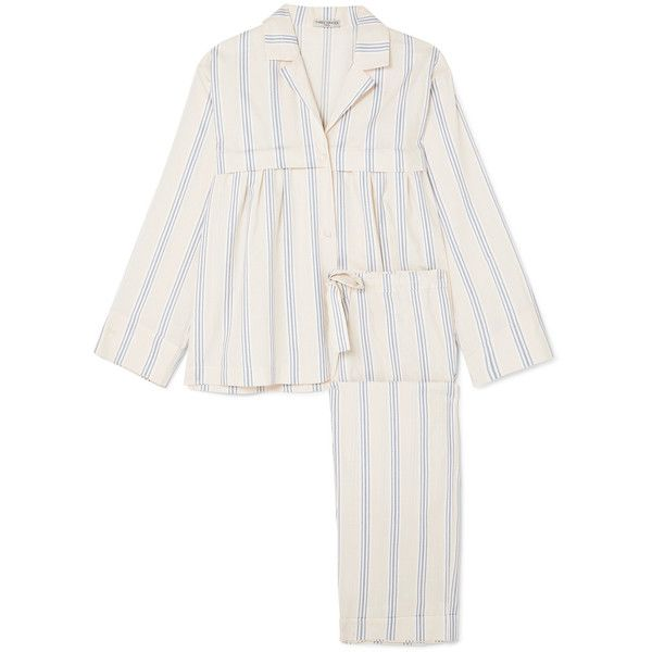 Three Graces London Moore and Marmee striped cotton-voile pajama set ($510) ❤ liked on Polyvore featuring intimates, sleepwear, pajamas, cream, striped pajama set, striped pyjamas, striped pajamas and striped pjs