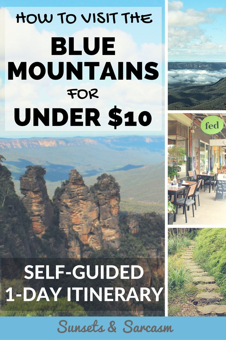 How to visit the Blue Mountains, Australia for under $10. A self-guided itinerary for backpackers and budget travellers to explore the Blue Mountains, Sydney using public transport, including two historical Australian towns, Katoomba and Leura, the famous Three Sisters rock formation at Echo Point and a choice of walks and waterfalls.