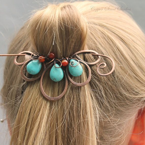 Blue Boho Hair Clip Beaded Turquoise Red от CopperStreetStudios