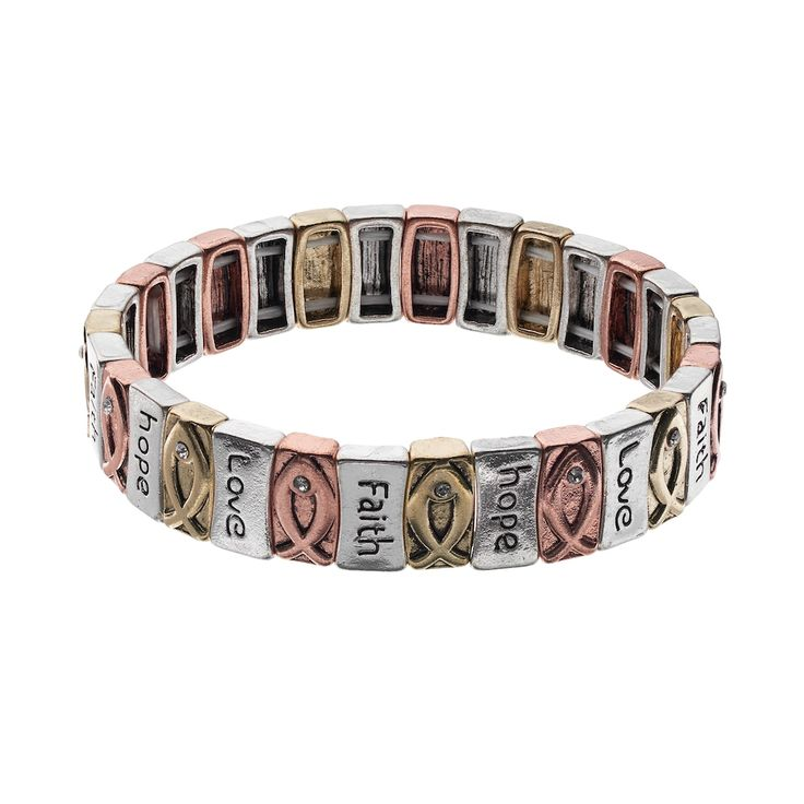 Believe In ''Faith'' & ''Hope'' Ichthys Tri Tone Stretch Bracelet, Multicolor