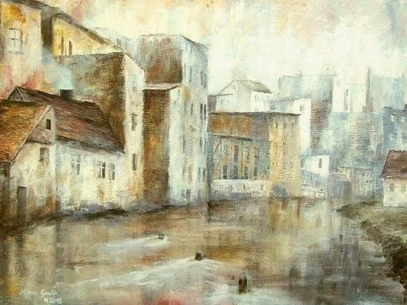 ARCHITECTURE Painting, Riverside Town - Fine Art GICLEE PRINT after an original painting by Milena Gawlik