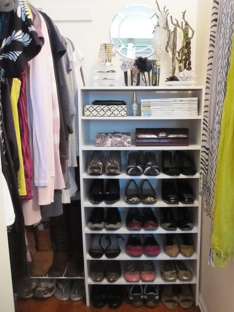 Closetmaid Shoe Shelves 4 Stacked And The Top Is Used For A Vanity Storage Closetssmall