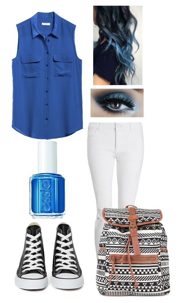 """""""Daughter of Poseidon- Back to school outfit!"""" by hopeangel0123 ❤ liked on Polyvore featuring Equipment, Whistles, Converse, Essie and Demigodbacktoschool"""
