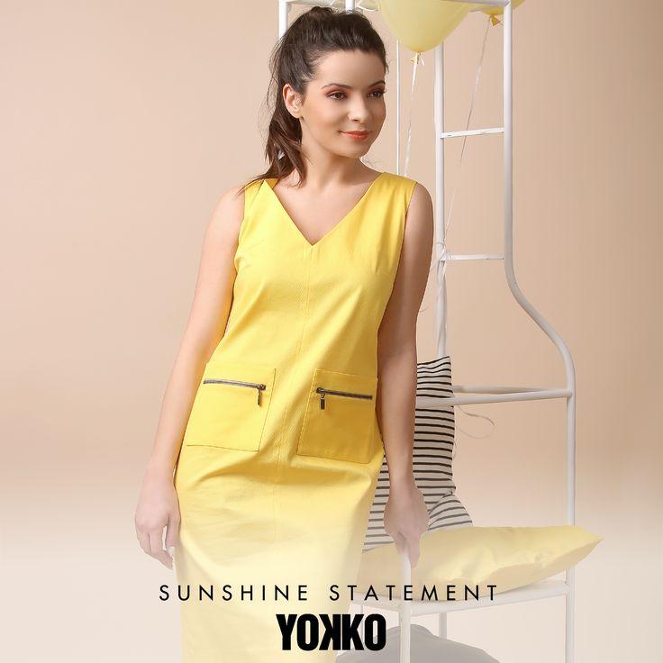 This season, SHINE! Fall in love with YELLOW SPRING17 | YOKKO #yellow #trend #spring17 #sun #sunny #dress #skirt #jacket #top #fashion #style #women #yokko
