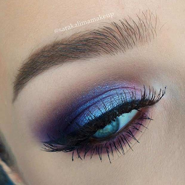 Blue and Purple Eye Makeup Look for Blue Eyes http://fancytemplestore.com