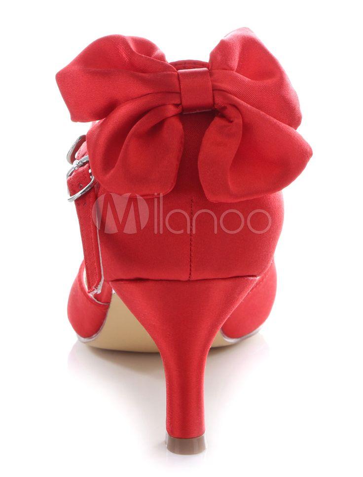 Bombas nupcial rojo arco correas zapatos de novia para mujeres