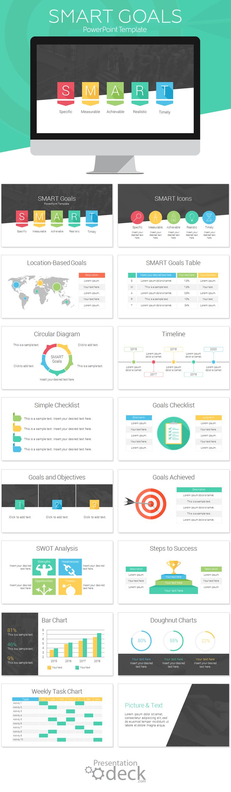 SMART Goals PowerPoint template with 16 pre-designed slides. Define your business target and objectives with style using this modern infographic for PowerPoint. #powerpoint #presentations #marketing