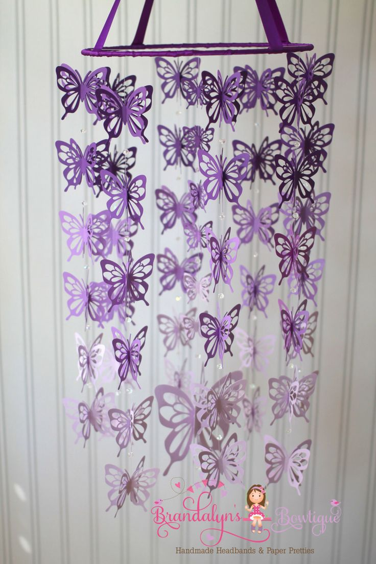Purple ombre' butterfly mobile, butterfly nursery mobile. Custom made my Brandalyn's Bowtique, you can choose your colors.