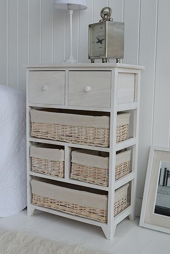 Cape Cod White Wash Storage Furniture - Large 4 basket 2 Drawer
