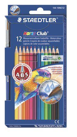 Akvarell ceruza készlet ecsettel 12 szín Noris Club STAEDTLER  Akvarell ceruza készlet ecsettel 12 szín Noris Club STAEDTLER Hatszögletű akvarell színes ceruza, ecsettel.  Anti Break Systemmel: fehér színű bevonat, mely megvédi a ceruzabelet a töréstől.  Extra puha és élénk színű heggyel. Megfelel a fenntartható erdőgazdálkodás követelményeinek.