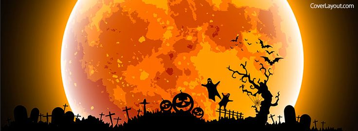 Orange Halloween Moon Facebook Cover coverlayout.com