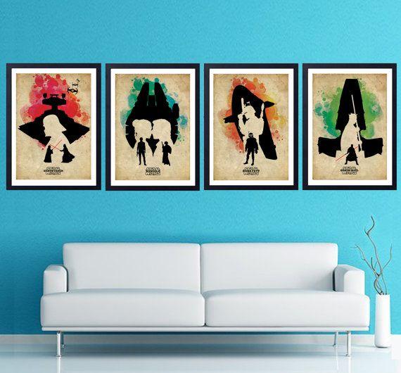 Vintage Star Wars prints Set of 4 prints 11.70 x by POSTERSHOT