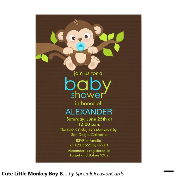 17 best ideas about baby shower monkey on pinterest | baby shower, Baby shower invitations