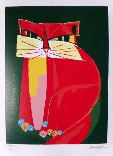 aldemir martins gravura gato vermelho com fundo verde