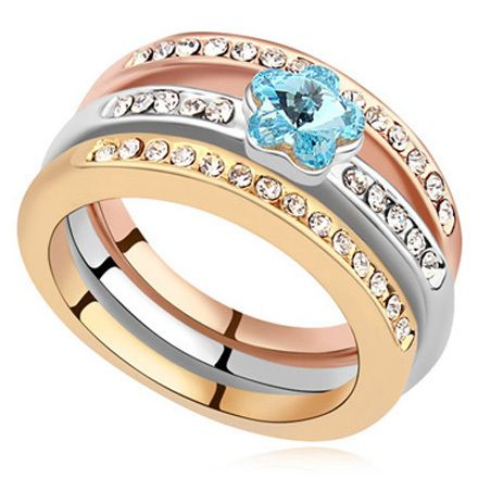 La Javardi Three Layered Rings Swarovski Element Crystals also available in Plus Size #ring #Swarovski #gold #silver #rosegold #plussize #rings #jewellery