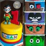 """This weekend I had the pleasure of making this two-tiered """"Teen Titans GO!"""" first birthday cake. It was certainly a labor of love starting fromonline research into finding the right i…"""