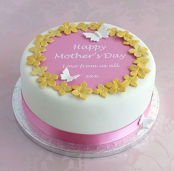 Mother's day cake in gold and rose pink
