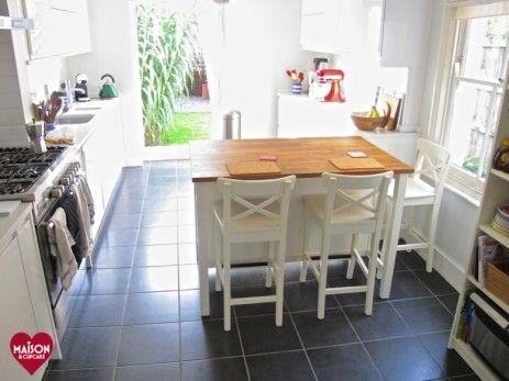 IKEA Stenstorp kitchen island and ingolf bar stools in Wickes kitchen refit. Kitchen remodel pictures via @maisoncupcake at maisoncupcake.com