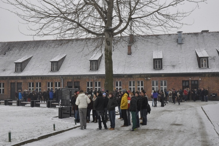 Groups of visitors starting their tour at the Auschwitz Memorial today (March 13). We hope that it is one of the last snowy and cold days this year. However, snow gives a completely different experience of the site.