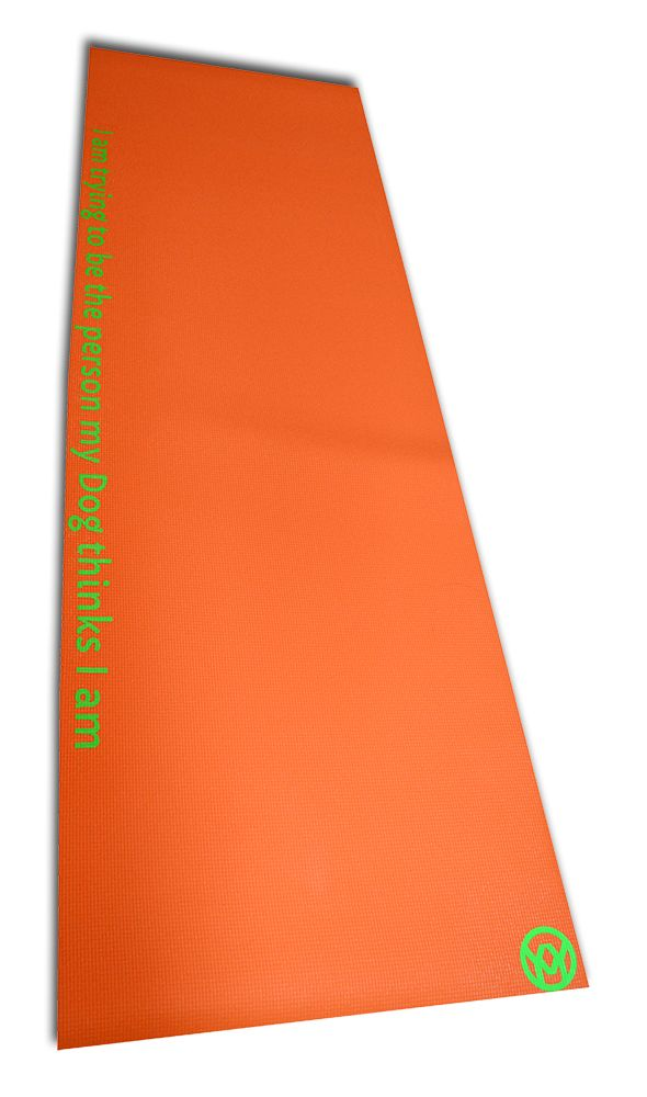 Mat Colour - Orange,  Font Colour - Fluorescent Green,  Layout - Horizontal Center Mid,  Font - Capriola,  Font Size - Medium