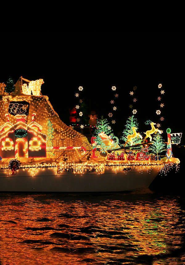 Newport Beach CA Christmas Boat Parade of Lights. We would watch the prade from our boat docked in Newport harbor when I was a kid.