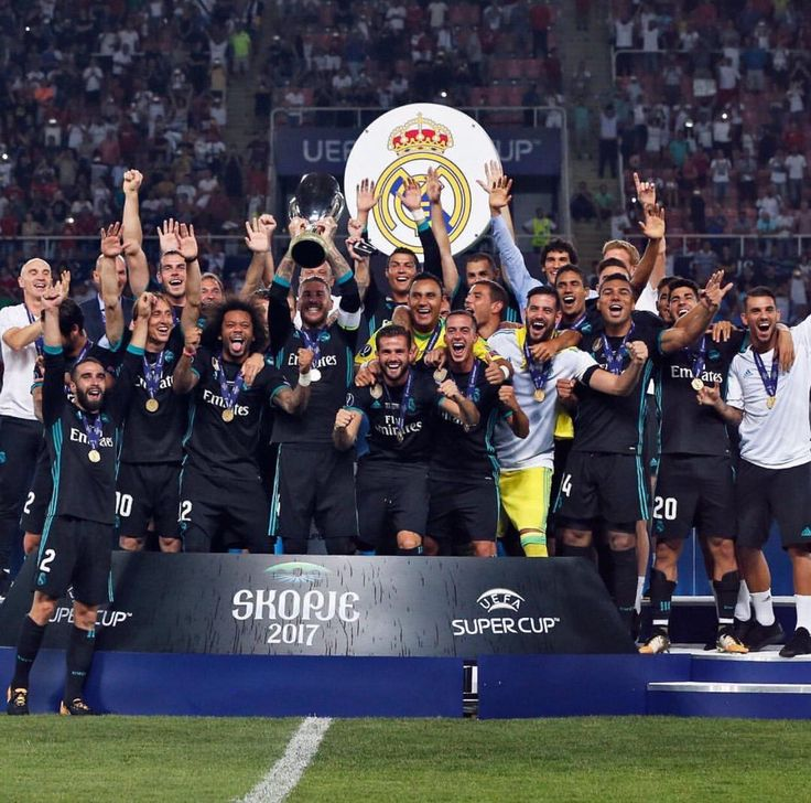 real madrid fc celebrated their winning at UEFA SUPERCUP 2017