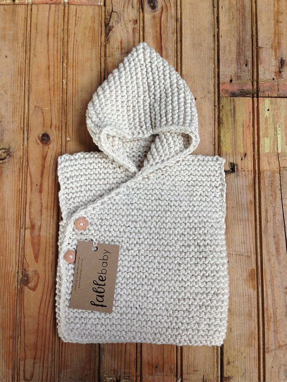 Hand Knitted Organic Cotton Chunky Hoodie Vest in CREAM
