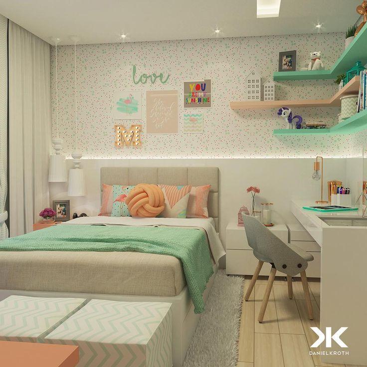 """Ideia de mesa e cabeceira - DANIEL KROTH Arquitetura (@danielkroth) no Instagram: """"Aquele Quartinho de Menina que nem precisa de legenda! O briefing desse Dormitório era bem…"""""""