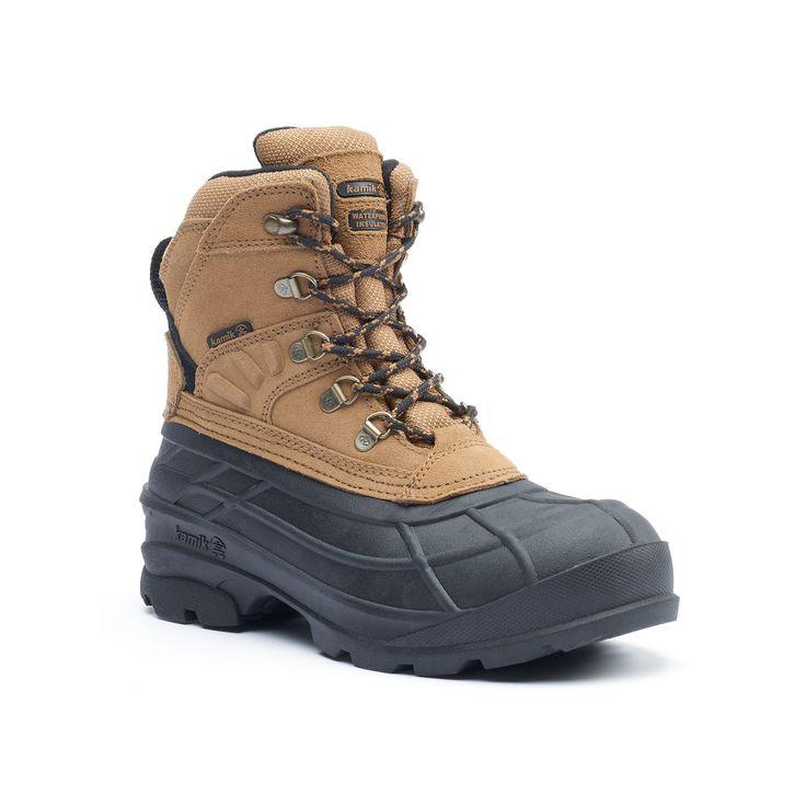 Kamik Fargo Men's Waterproof Winter Boots, Size: 8, Beig/Green (Beig/Khaki)