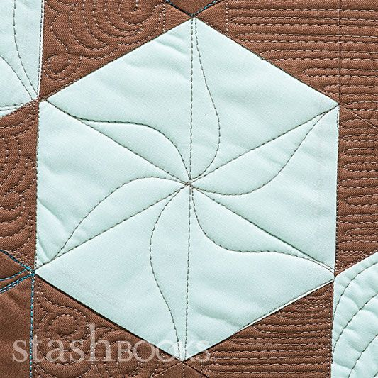 detail, Hexagon quilt, in: Shape by Shape Free-Motion Quilting by Angela Walters