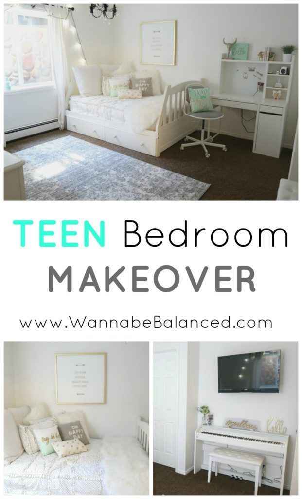 Check out all the before and after pics of my teen daughters bedroom makeover. White walls, with mint and gold accents. | Wannabe Balanced Mom