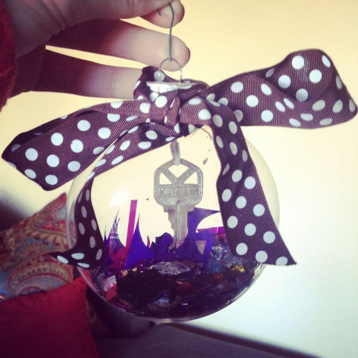 First house key ornament. Ball, key, confetti, ribbon & done!