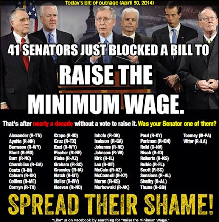Shame on the GOP & SENATOR PAT TOOMEY! By the way, Senator Toomey, who exactly in Pennsylvania do you claim to represent? From your votes against Unemployment to your votes against raising the minimum wage, you are definitely not a Senator of the people, are you!? ~ 5/1/2014