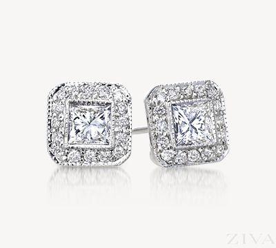 Princess Cut Diamond Stud Earrings with Pave Halo