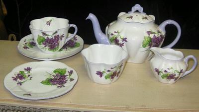 RARE Shelley Dainty Tea for One Violets 13821 Teapot Creamer Sugar 1 Trio | eBay