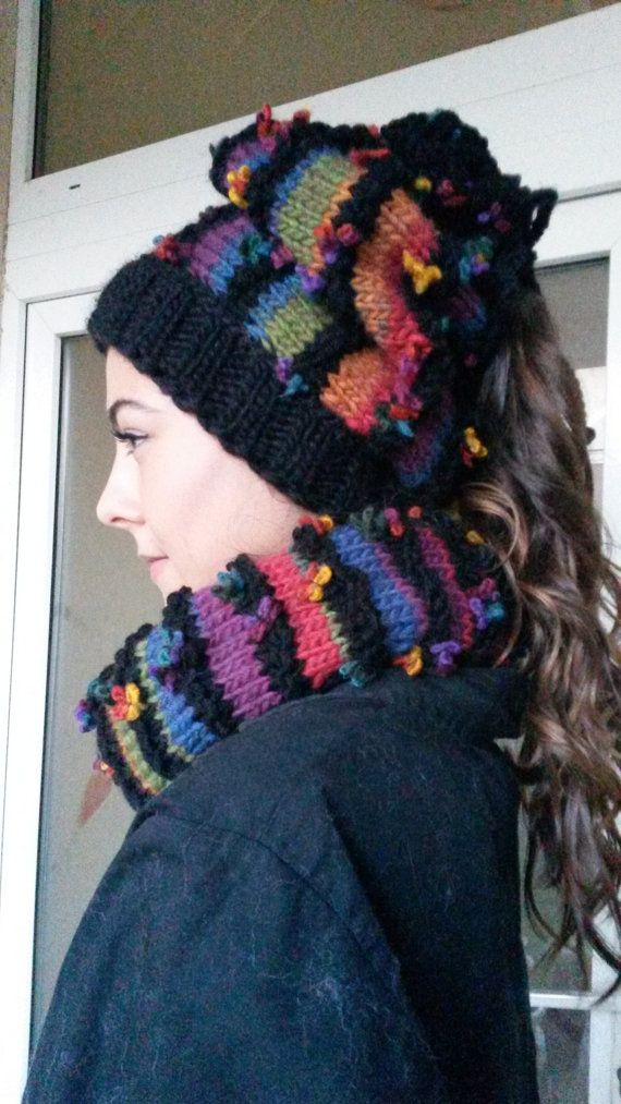 Set Hat and  Scarf/Hand knitted Set Slouchy by AnnesMagicCrochet