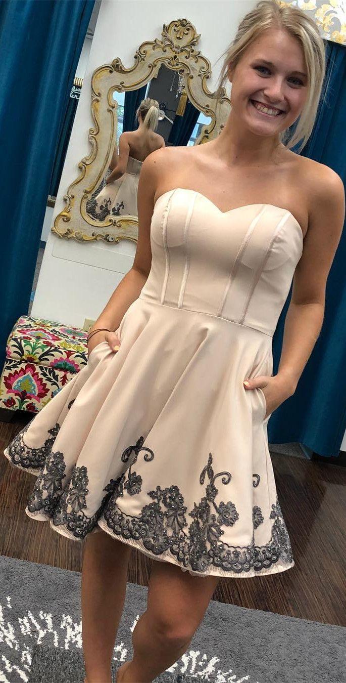 Princess sweetheart short champagne and black homecoming dress rp