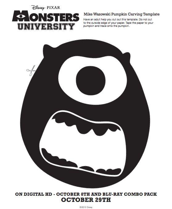 Monsters university pop quiz pumpkin carving stencil for Monster pumpkin carving patterns
