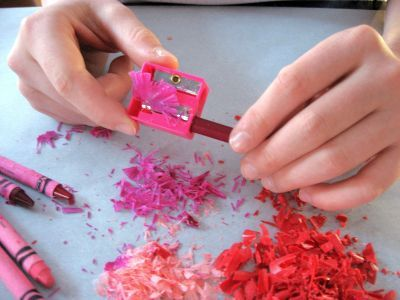 Crayon & Wax Paper- melt the shavings instead of the whole crayon