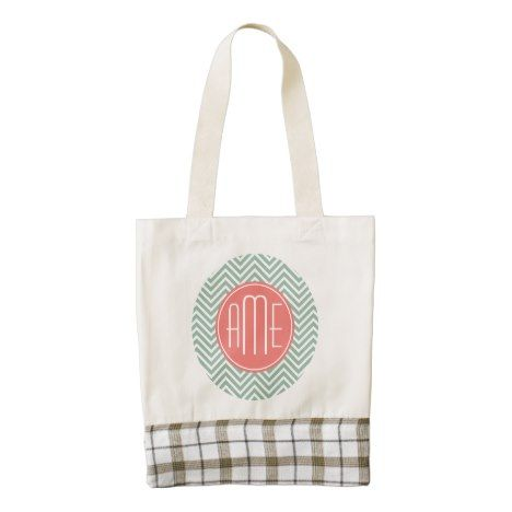 Mint and Coral Chevrons Custom Monogram Zazzle HEART Tote Bag