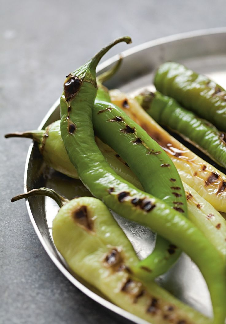 Grilled long green capsicums recipe by Rebecca Seal | Cooked