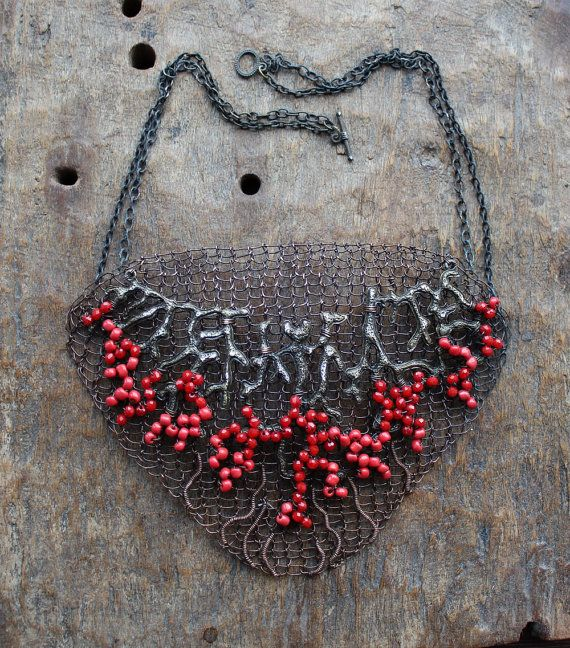 BLOODY SECRET  Copper Wire Crocheted OOAK Bib Statement Necklace/ Red Dramatic Large Unusual Art Graphic Necklace. Made to order!